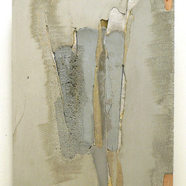 Marlies Hoevers - Dark Secret, 2011, mixed media on board, cement, concrete, textile, found objects