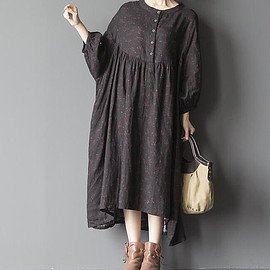 oversized dresses - blue oversized loose long dress large size dresses black by MaLieb
