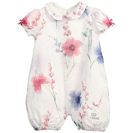 GF FERRE - Baby Girls White Floral Cotton Shortie