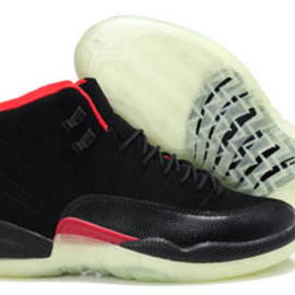 Glow in the Dark Jordan 12 Retro Black/Red Suede Basketball Shoes