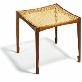 Bernt - Rosewood stool with seat of woven cane