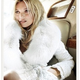 Kate Moss - white fur