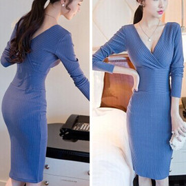 Sexy V-neck Solid Color Long Sleeve Slim Fit Knitted Dress
