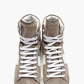 SAINT LAURENT - GREY SUEDE LEATHER-TRIMMED HIGH-TOP SNEAKERS