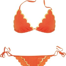 chloe - scalloped orange bikini