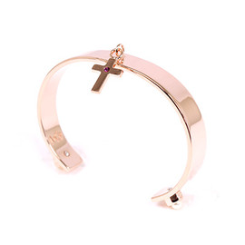 Maria Francesca Pepe - 【Maria Francesca Pepe】CUFF WITH CROSS CHARM AND STUDDED SWAROVSKI PEARLS