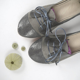 elehandmade - The Sofia Oxfords in Gray - Cute Handmade Leather Oxford Shoes
