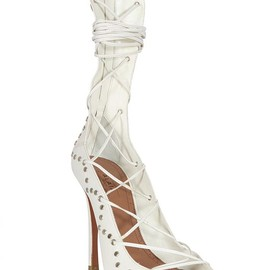 Azzedine Alaia - IVORY LACE-UP LEATHER SANDALS