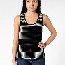 American Apparel - Stripe Double U-Neck Tank Top