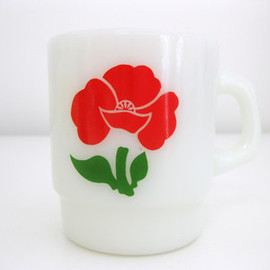 Fire King - motif print (poppy) , stacking mug , red