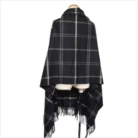 Johnstons - CASHMERE WINDOWPANE CHECK STOLE (BLACK)