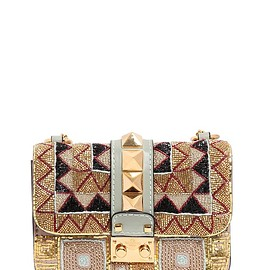 VALENTINO - MINI LOCK BEADED LEATHER SHOULDER BAG - GOLD/BLACK