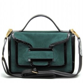 PIERRE HARDY - SUEDE SHOULDER BAG WITH PATENT LEATHER TRIM