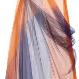 JIL SANDER - Colorblock Tulle Dress in Orange