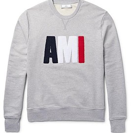 AMI - Terry-Embroidered Loopback Cotton-Jersey Sweatshirt