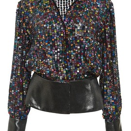 RODARTE - FW2015 Multicolored Sequin Blouse With Lame Details
