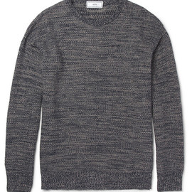 AMI Alexandre Mattiussi - Textured Knitted Linen and Cotton-Blend Sweater 13ss