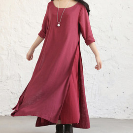 etsy - Black/ Red/ double Long dress/ long sleeve maxi dress/  loose fitting Robe