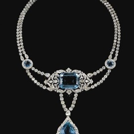 CARTIER - FINE AND IMPORTANT AQUAMARINE AND DIAMOND NECKLACE, CARTIER, 1912 - Photo c/o Sothebys