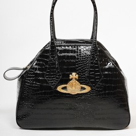 Vivienne Westwood - Patent Crocodile Chancery Bag in Nero