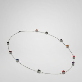 BOTTEGA VENETA - Multicolor Enameled Oxydized Silver Necklace