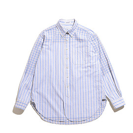 ENGINEERED GARMENTS - 19th BD Shirt-Check/St. Seersucker-Lt.Blue×Tan