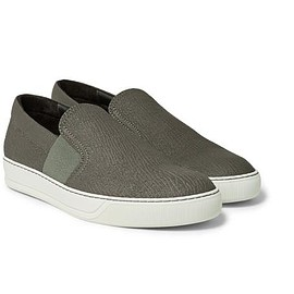 Lanvin - Pebble-Grain Leather Slip-On Sneakers