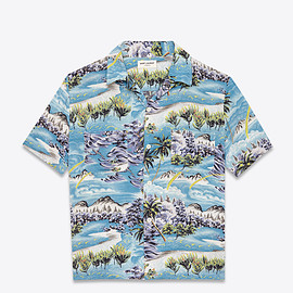 SAINT LAURENT PARIS - SHORT SLEEVE HAWAIIAN SHIRT IN MULTICOLOR HAWAIIAN PRINTED VISCOSE