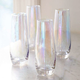 Slide View: 1: Iridescent Stemless Flute Glass - Set Of 4