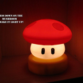 Super Mario Brothers Power up Mushroom SMALL Touch Lamp Night Light - NES Retro Video Game Geek Housewares
