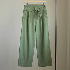 AURALEE - WASHED FINX RIPSTOP BELTED WIDE PANTS #olive green
