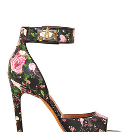 GIVENCHY - 100MM FLORAL NAPPA LEATHER SANDALS