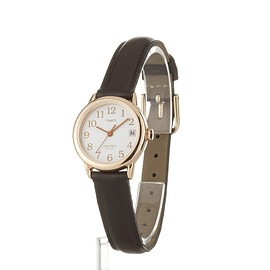 Timex - Timex Women's Quartz Watch with White Dial Analogue Display and Brown Leather Strap T2P564