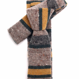 The Hill-Side - N55 055 Wool Blend Blanket Lining Tie Beige Green Yellow