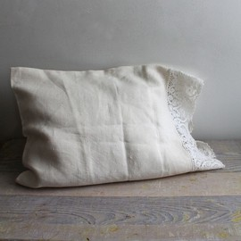 Handmade Antique Linen Pillow Cover