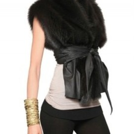 Rick Own Hun - Rick Owens Hun Fisher Fur Vest with Leather Trim