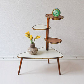 MightyVintage - Vintage German flower table bench plant stand Mid Century modern wood 60s