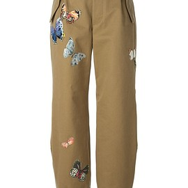 VALENTINO - Green cotton stitched butterfly trousers