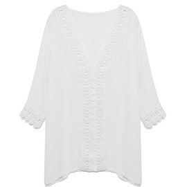 Yoins - Sexy Casual Crochet Trim White Cover-up