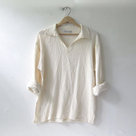 vintage cotton pullover shirt. natural white shirt. long sleeve top. collared pullover shirt.