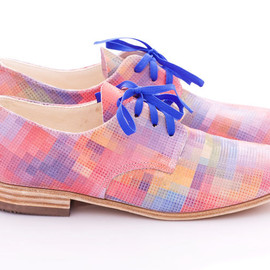 Pleasemachine - Pastel pixels - Leather oxford shoes for woman