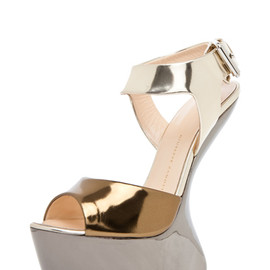 GIUSEPPE ZANOTTI - Mirrored Wedge Sandal in Mixed Metallic