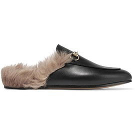 Gucci - Horsebit-detailed shearling-lined leather slippers