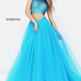 Sherri Hill 50561 Turquoise - Two Piece Cap Sleeves Beaded Turquoise Sherri Hill 50561 Long Organza Ball Gowns 2017