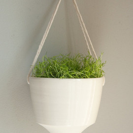 Farrah Sit - Angled --porcelain and cotton rope hanging planter