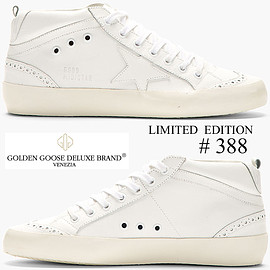 GOLDEN GOOSE, GOLDEN GOOSE DELUXE BRAND - WHITE LEATHER LIMITED EDITION BROGUED SUPERSTAR MID-TOP SNEAKER