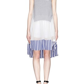 sacai - Knitted panel chiffon dress