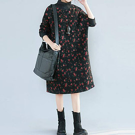 Dresses - black loose cotton high collar dress large size Winter Bottoming dress boho dress