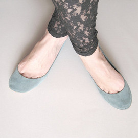 Heart Shaped Leather Handmade Mint Ballet Flats
