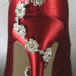 Jewel wrapped satin heels